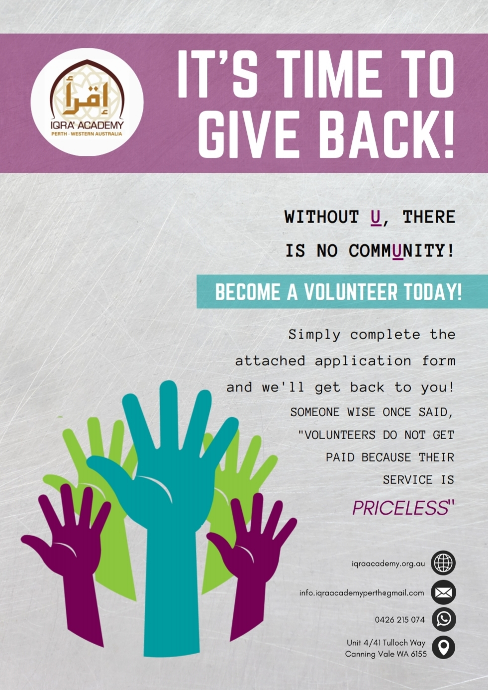 IQRA' Academy: Become A Volunteer Today